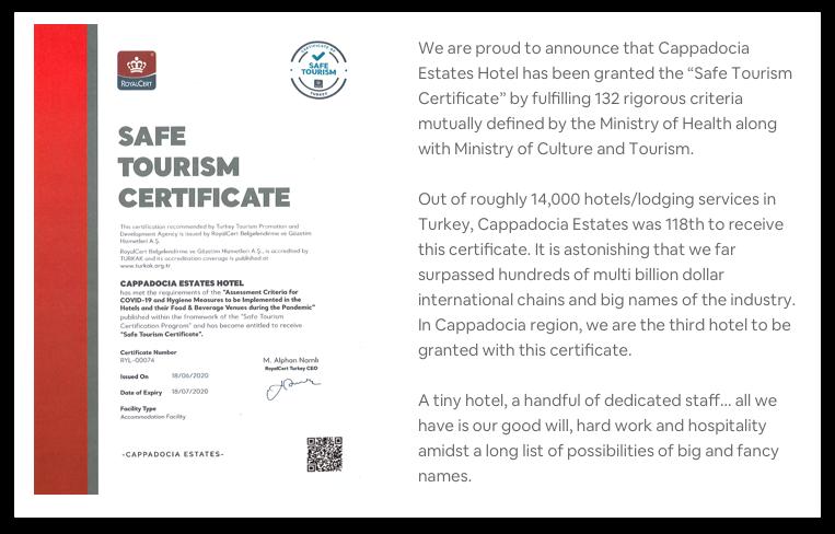 Cappadocia Estates Safe Certificate